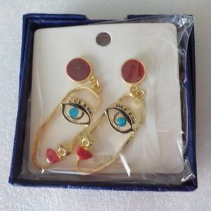 Unique Face Gold Plated Stud Earring